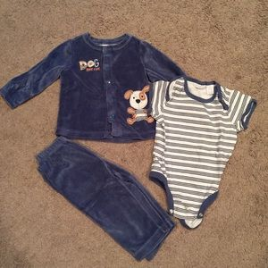 Other - Baby boy blue velour 3 piece outfit, 12 month